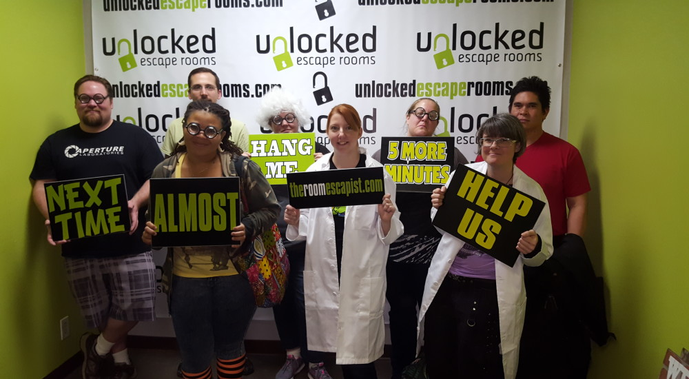 group holding signs